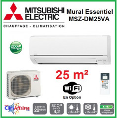 Mitsubishi Mural Inverter - Gamme Essentiel HJ/DM - MSZ-DM25VA + MUZ-DM25VA (2.5 kW)