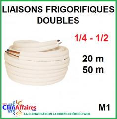 Liaisons frigorifiques en cuivre isolées double M1 1/4 - 1/2 (20 et 50 m)
