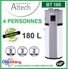 Chauffe Eau Thermodynamique ALTECH - BT180 - Idéal pour 4 personnes (180 L)