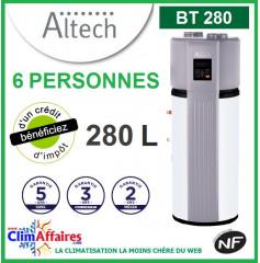 Chauffe Eau Thermodynamique ALTECH - BT280 - Idéal pour 6 personnes (280 L)