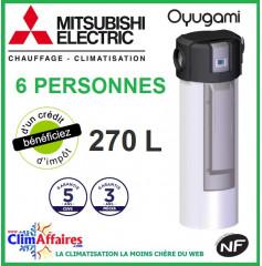 Chauffe Eau Thermodynamique MITSUBISHI -  OYUGAMI MONOBLOC - Idéal pour 6 personnes (270 L)