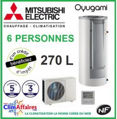 Chauffe Eau Thermodynamique MITSUBISHI - OYUGAMI SPLIT - Idéal pour 6 personnes (270 L)