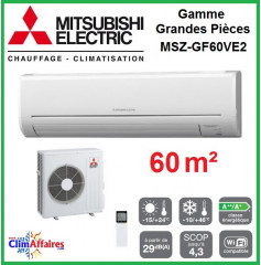 Mitsubishi Mural Inverter - Gamme Grandes Pièces - MSZ-GF60VE2 (6.1 kW)