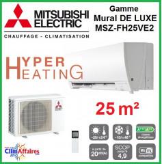 Mitsubishi Mural Hyper Heating Inverter - Gamme De Luxe - MSZ-FH25VE2 (2.5 kW)