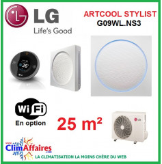 LG Climatisation Inverter - Artcool Stylist - R410A - G09WL.NS3 + G09WL.UL2 (2.5 kW)