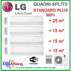 LG Climatisation Quadri-Splits - STANDARD PLUS WIFI- MU4M25.U44 + PM09SP.NSJ + 3 x PM05SP.NSJ (7.0 kW)