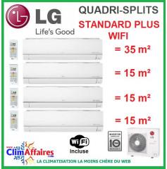 LG Climatisation Quadri-Splits - STANDARD PLUS WIFI - MU4M27.U44 + PM12SP.NSJ + 3 x PM05SP.NSJ (7.9 kW)