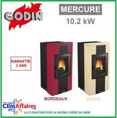 Poêle à Granulés étanche GODIN - MERCURE - Bordeaux, Sable (10.2 kW)