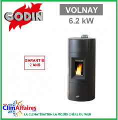 Poêle à Granulés étanche GODIN - VOLNAY - Noir (6.2 kW)