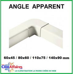 Angle apparent pour raccords goulottes (60x45 / 80x60 / 110x75 / 140x90 mm)