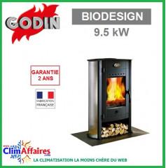 Poêle à bois GODIN - BIODESIGN - Inox (9.5 kW)