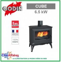 Poêle à bois GODIN - CUBE - Noir (6.5 kW)