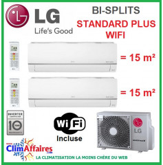 LG Climatisation Bi-Splits - STANDARD PLUS WIFI - MU2M15.UL4 + 2 x PM07SP.NSJ (4.1 kW)