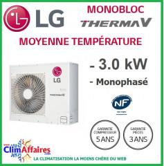 LG Therma V - Pompe à Chaleur Air/Eau - Monobloc - Monophasé - HM031M.U42 (3.0 kW)
