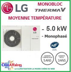 LG Therma V - Pompe à Chaleur Air/Eau - Monobloc - R410A - Monophasé - HM051M.U42 (4.99 kW)