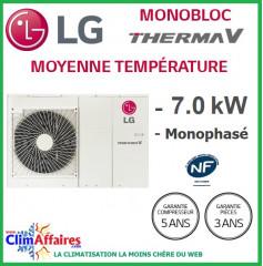 LG Therma V - Pompe à Chaleur Air/Eau - Monobloc - R410A - Monophasé - HM071M.U42 (7.0 kW)