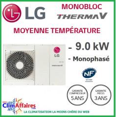 LG Therma V - Pompe à Chaleur Air/Eau - Monobloc - R410A - Monophasé - HM091M.U42 (8.7 kW)