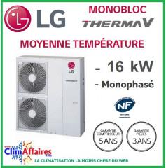 LG Therma V - Pompe à Chaleur Air/Eau - Monobloc - R410A - Monophasé - HM161M.U32 (16.0 kW)
