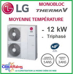 LG Therma V - Pompe à Chaleur Air/Eau - Monobloc - R410A - Triphasé - HM123M.U32 (12.0 kW)