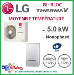 LG Therma V - Pompe à Chaleur Air/Eau - Bi-Bloc - Monophasé - HU051.U43 + HN1616.NK3 (5.00 kW)