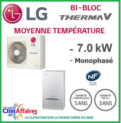 LG Therma V - Pompe à Chaleur Air/Eau - Bi-Bloc - Monophasé - HU071.U43 + HN1616.NK3 (7.0 kW)