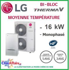 LG Therma V - Pompe à Chaleur Air/Eau - Bi-Bloc - Monophasé - HU161.U33 + HN1616.NK3 (16.0 kW)