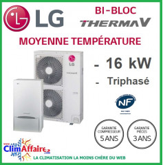 LG Therma V - Pompe à Chaleur Air/Eau - Bi-Bloc - Triphasé - HU163.U33 + HN1639.NK3 (16.0 kW)