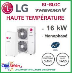LG Therma V - Pompe à Chaleur Air/Eau - Bi-Bloc Haute température - Monophasé - HU161H.U32 + HN1610H.NK2 (16.0 kW)