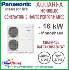 Panasonic - Aquarea - Pompe à Chaleur Air/Eau - Génération G Haute Performance -  Monobloc -  WH-MDC16G6E5 (16.0 kW)