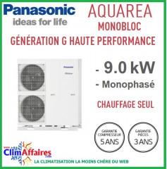 Panasonic - Aquarea - Pompe à Chaleur Air/Eau - Génération G Haute Performance - Monobloc - Chaud Seul - WH-MHF09G3E5 (9.0 kW)