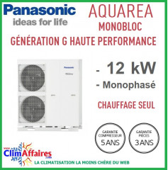 Panasonic - Aquarea - Pompe à Chaleur Air/Eau - Génération G Haute Performance - Monobloc - Chaud Seul - WH-MHF12G6E5 (12.0 kW)