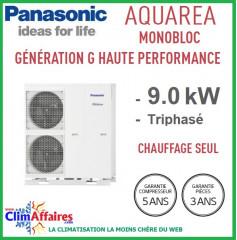 Panasonic - Aquarea - Pompe à Chaleur Air/Eau - Génération G Haute Performance - Monobloc - Chaud Seul - WH-MHF09G3E8 (9.0 kW)