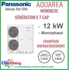 Panasonic - Aquarea - Pompe à Chaleur Air/Eau - Génération G T-CAP - Monobloc - WH-MXC12G6E5 (12.0 kW)