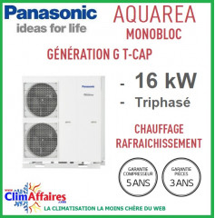 Panasonic - Aquarea - Pompe à Chaleur Air/Eau - Génération G T-CAP - Monobloc - WH-MXC16G9E8 (16.0 kW)