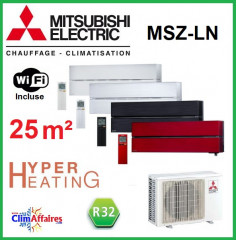 Mitsubishi Mural Inverter - Gamme Design de Luxe - Hyper Heating - R32 - MSZ-LN25VG + MUZ-LN25VGHZ (2.5 kW)