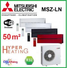 Mitsubishi Mural Inverter - Gamme Design de Luxe - Hyper Heating - R32 - MSZ-LN50VG + MUZ-LN50VGHZ (5.0 kW)