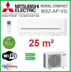 Mitsubishi Mural Inverter - Gamme Compact - R32 - MSZ-AP25VG + MUZ-AP25VG (2.5 kW)