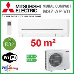 Mitsubishi Mural Inverter - Gamme Compact - R32 - MSZ-AP50VG + MUZ-AP50VG (5.0 kW)