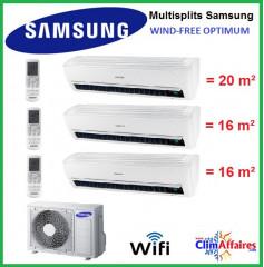 Samsung Tri-Splits - Wind-Free Optimum - AJ052MCJ3EH/EU + 2 x AR07NXPXBWKNEU + AR09NXPXBWKNEU (5.2 kW)