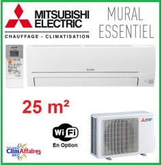 Mitsubishi Mural Inverter - Gamme Essentiel - R32 - MSZ-HR25VF + MUZ-HR25VF (2.5 kW)