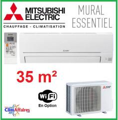 Mitsubishi Mural Inverter - Gamme Essentiel - R32 - MSZ-HR35VF + MUZ-HR35VF (3.5 kW)