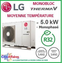 LG Therma V - Pompe à Chaleur Air/Eau - Monobloc - R32 - Monophasé - HM051M.U43 (5.50 kW)