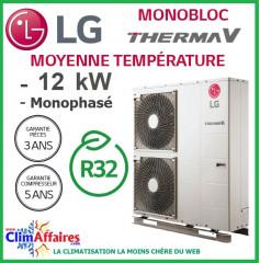 LG Therma V - Pompe à Chaleur Air/Eau - Monobloc - R32 - Monophasé - HM121M.U33 (12.0 kW)