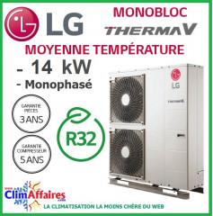 LG Therma V - Pompe à Chaleur Air/Eau - Monobloc - R32 - Monophasé - HM141M.U33 (14.0 kW)