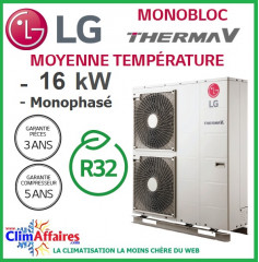 LG Therma V - Pompe à Chaleur Air/Eau - Monobloc - R32 - Monophasé - HM161M.U33 (16.0 kW)