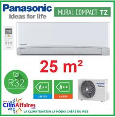 Panasonic Climatisation Mural Inverter - TZ Compact - R32 - CS-TZ25TKEW-1 + CU-TZ25TKE-1 (2.5 kW)