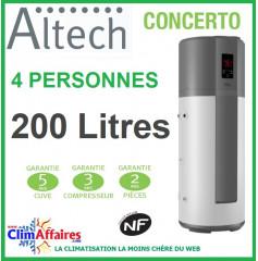 Chauffe Eau Thermodynamique ALTECH - Fiche énergétique - CONCERTO - HP200M3A (195 L)