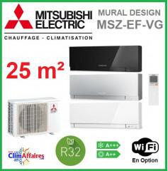 Mitsubishi Mural Inverter - Gamme Design - R32 - MSZ-EF25VG + MUZ-EF25VG (2.5 kW)