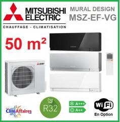 Mitsubishi Mural Inverter - Gamme Design - R32 - MSZ-EF50VG + MUZ-EF50VG (5.0 kW)