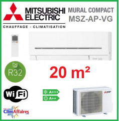 Mitsubishi Mural Inverter - Gamme Compact - R32 - MSZ-AP20VG + MUZ-AP20VG (2.0 kW)
